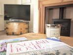 Relax with a magazine in front of the fire