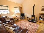 Lounge area with log burning stove