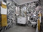 Luxury bathroom with walk in shower.