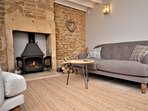 Lounge area with warming wood burner