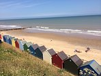 Mundesley colourful beach huts nearby