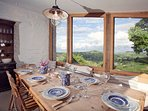 A dining area with a view
