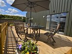 Alfresco dining on the enclosed decked area