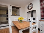 Dining area with woodburner for those cooler evenings