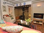 Lounge with inglenook fireplace and wood burner