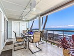 Enjoy breakfast on the private oceanfront lanai