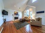 Great room with large 55' smart Roku LED TV; Netflix, Prime, Sling