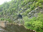 Steep, dramatic rock walls at the Lehigh Gorge State Park