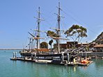 See historic ships like the Pilgrim in Dana Point.