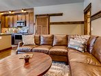 Give your tired legs a break as you sink into this large sectional sofa.