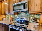 The fully equipped kitchen has everything needed to prepare family favorites.
