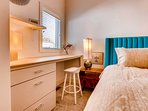For those traveling with work, the built-in desk in the master bedroom offers a quiet space to catch up on emails.