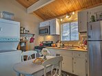 The kitchen boasts a Keurig, gas stove, and all the culinary essentials!