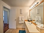 Get ready for your daily adventure in the full bathroom.