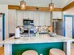 Sleek granite countertops beg for a buffet!