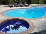 Solar heated pool and gas spa