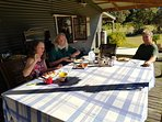 recent guests enjoying a BBQ breakfast with host Jonny (B&B on request)