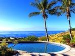 Amazing lagoon style infinity pool overlooks the blue Pacific Ocean