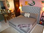 Comfortable California king size bed with ortopedic mattress.