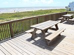 Picnic tables on deck for outdoor eating