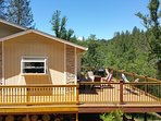 600 square foot deck with 2 hammocks, a propane BBQ (gas provied FREE), a table and seating for 7.