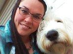 Lisa, Innkeeper, with faithful companion, Murphy.