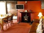Lounge/diner with wood burner