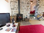Lounge with woodburner feature