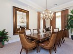 With seating for ten, the formal dining area is perfect for celebrating with family and friends