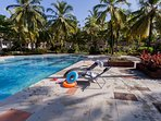 One of two open-air pools within a minute's walk from this holiday home in South Goa