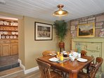 Traditional dining room with original oven
