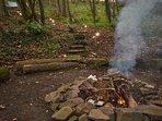 Toast marshmallows around the campfire