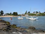 Boats in high tide at Abersoch