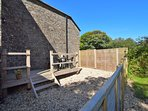 Enclosed rear garden with gate leading out to acres of ground for all to enjoy