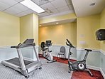 The facility offers a fitness center.