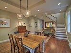 The barn wood kitchen table is ideal for formal meals.