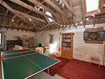 Games room with table football,table tennis,TV/DVD and games console