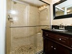 Plenty of counter space in the Master bathroom which is right off the Master Bedroom