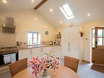 Sunny kitchen/diner with welcome hamper upon arrival