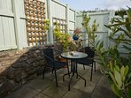 Enclosed rear courtyard with BBQ and furniture
