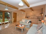 Open plan living accommodation with garden views