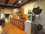 very well equipped kitchen all you need for dining at home. Dishwasher,fully stocked table/cookware.