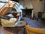 Pretty character stone cottage, large living room,wooden floors throughout, beamed ceiling ,