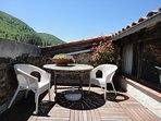 south facing  sun terrace with views over the valley. perfect for relaxing, sun bathing, breakfast!
