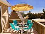 Bistro Table w/6' Parasol on South Facing Balcony at Le Beach House Montreuil