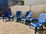 South Facing Backyard with 4 Adirondack Chairs & 3 Side Tables at Le Beach House Montreuil
