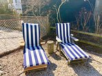 South Facing Backyard with 2 Chaises Lounge w/Cushions at Le Beach House Montreuil
