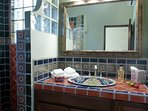 Hand painted tile in bath