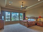 Retire to the master bedroom to rest on the king bed.