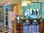 This condo also features color changing glass blocks at the bar that offer a romantic and fun effect